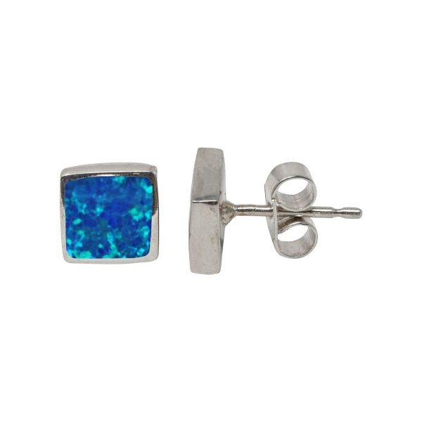 Silver Cobalt Blue Opalite Square Stud Earrings