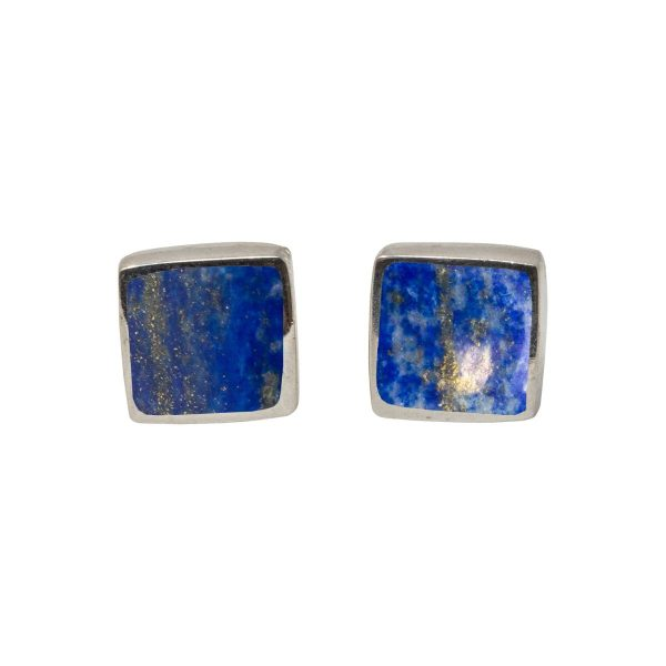 Silver Lapis Square Stud Earrings
