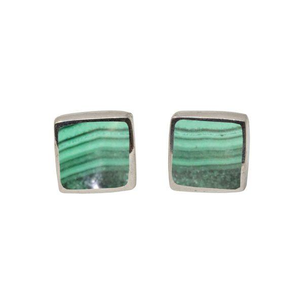 Silver Malachite Square Stud Earrings