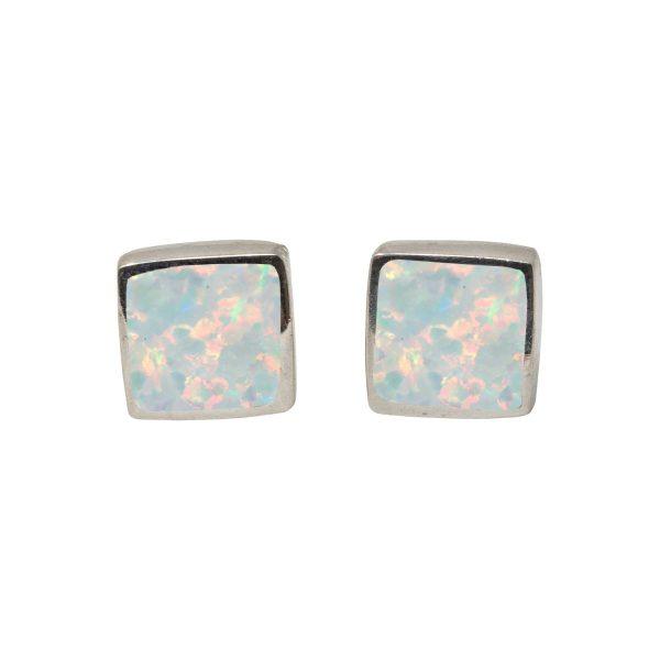 Silver Sun Ice Opalite Square Stud Earrings