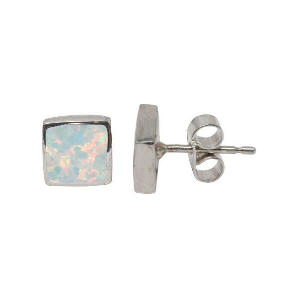 Silver Opalite Sun Ice Square Stud Earrings