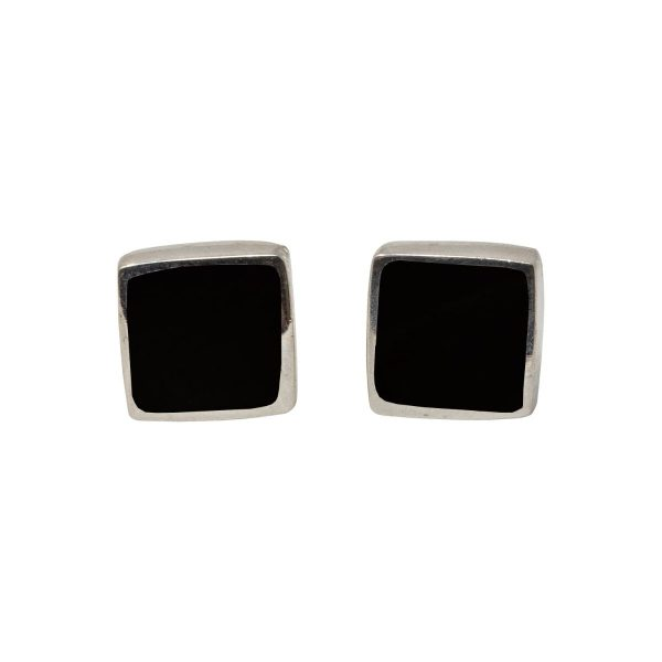 Silver Whitby Jet Square Stud Earrings