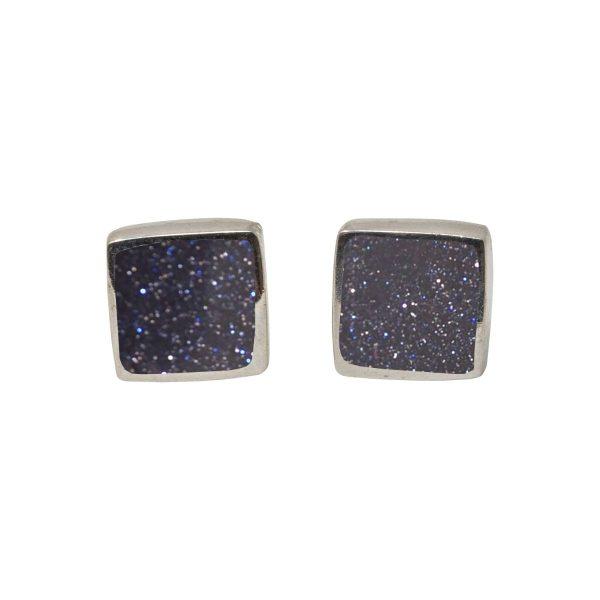 White Gold Blue Goldstone Square Stud Earrings