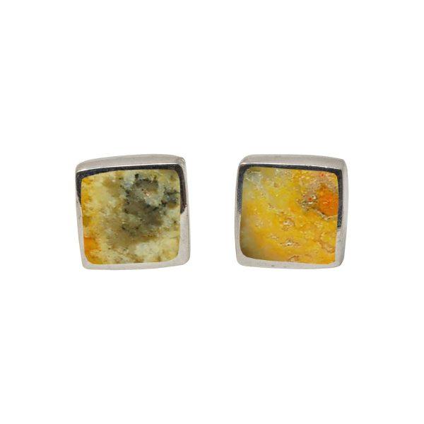 White Gold Bumblebee Jasper Square Stud Earrings