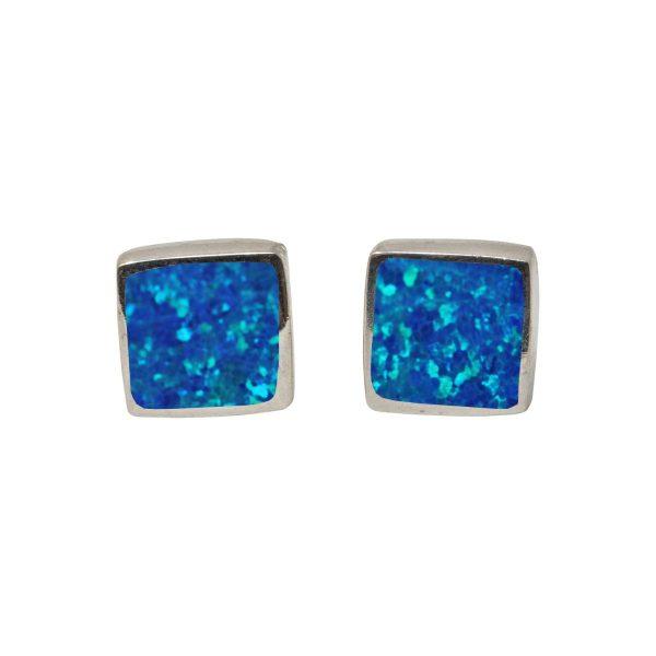 White Gold Opalite Cobalt Blue Square Stud Earrings