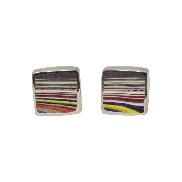 White Gold Fordite Square Stud Earrings