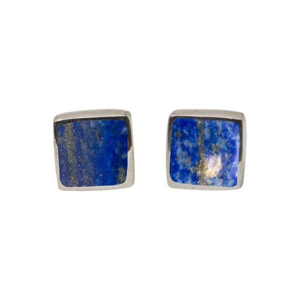White Gold Lapis Square Stud Earrings