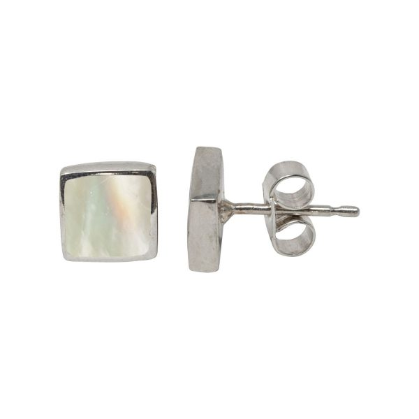 White Gold Mother of Pearl Square Stud Earrings