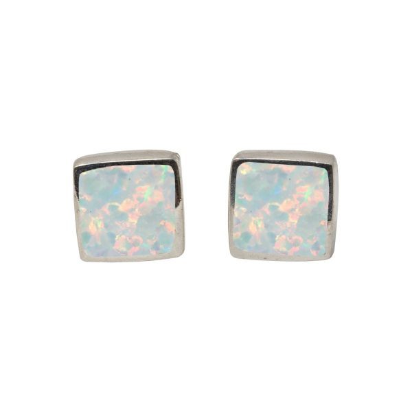 White Gold Opalite Sun Ice Square Stud Earrings