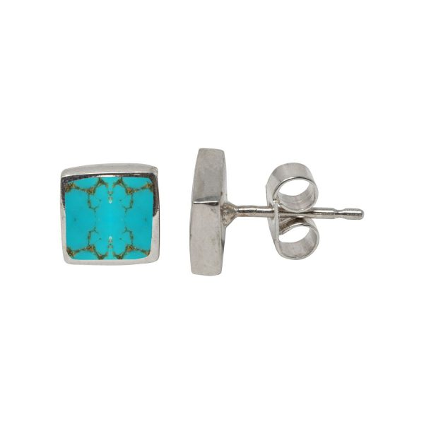 White Gold Turquoise Square Stud Earrings
