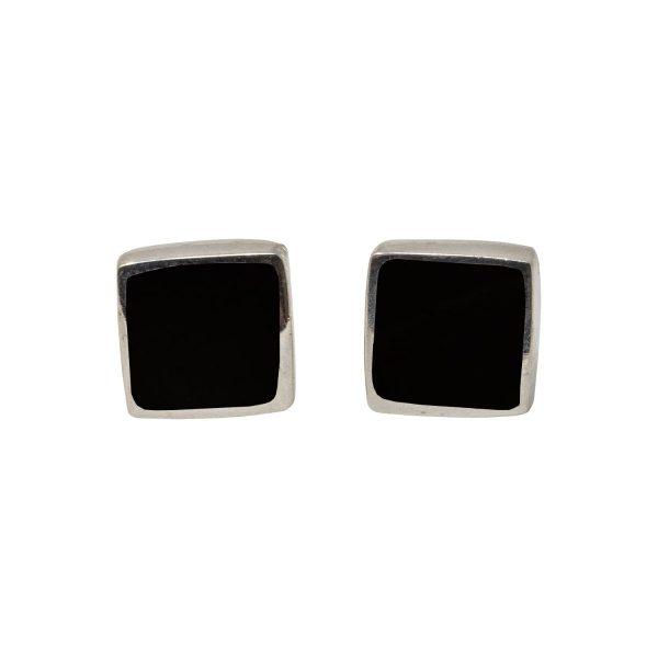 White Gold Whitby Jet Square Stud Earrings