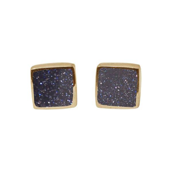 Gold Blue Goldstone Square Stud Earrings