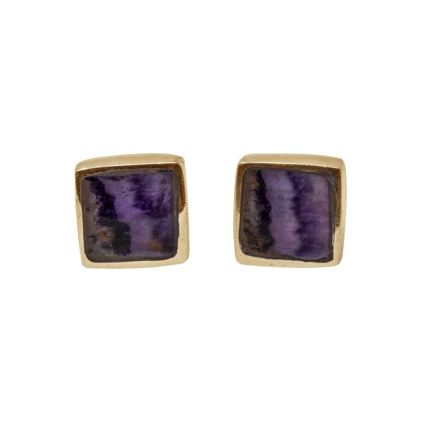 Gold Blue John Square Stud Earrings