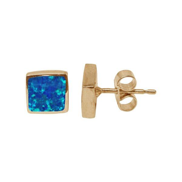 Gold Cobalt Blue Opalite Square Stud Earrings