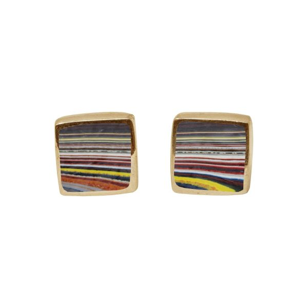 Gold Fordite Square Stud Earrings