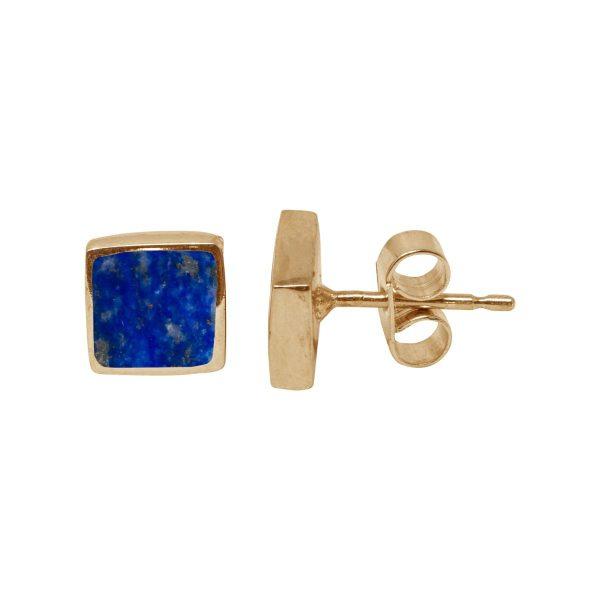Gold Lapis Square Stud Earrings