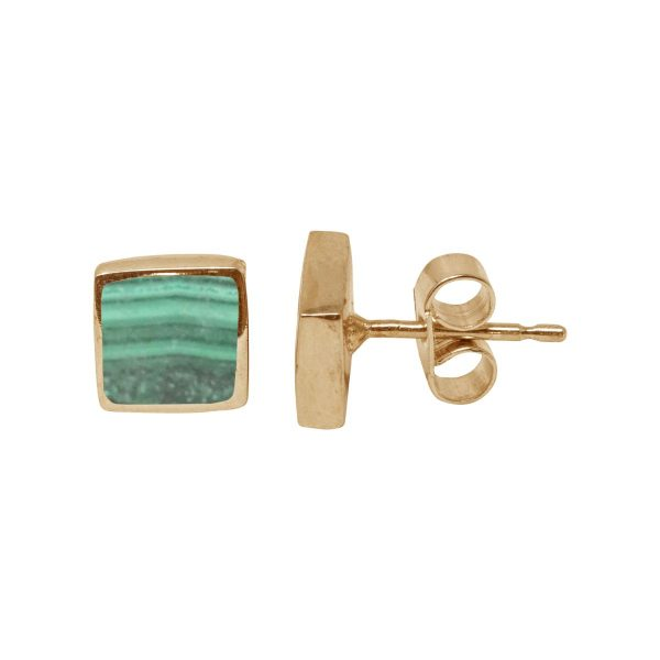 Gold Malachite Square Stud Earrings