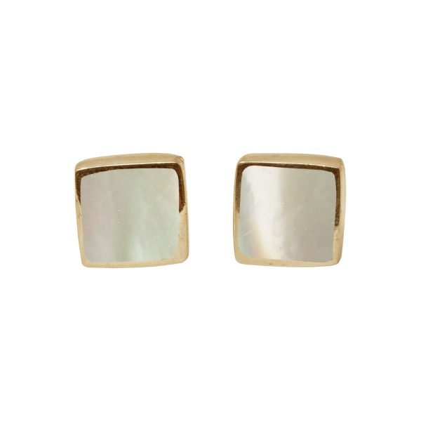 Gold Mother of Pearl Square Stud Earrings