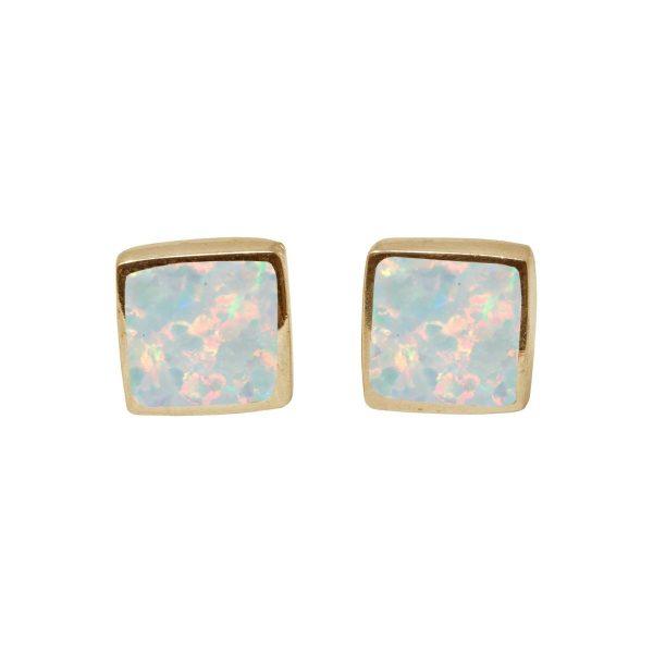 Gold Sun Ice Opalite Square Stud Earrings