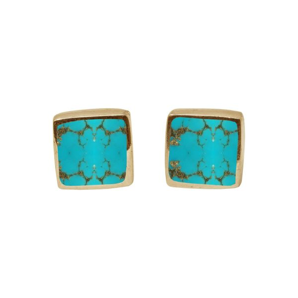 Gold Turquoise Square Stud Earrings
