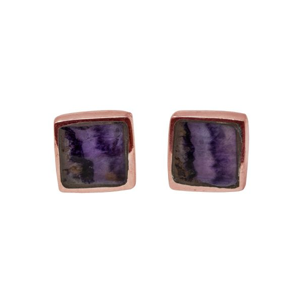Rose Gold Square Stud Earrings