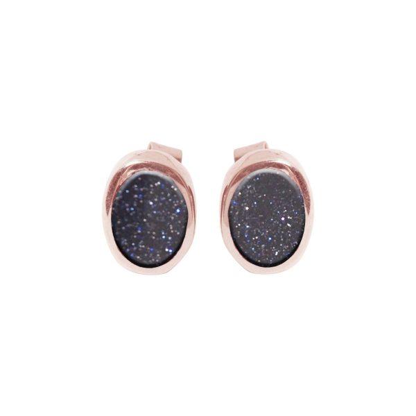 Rose Gold Blue GoldstoneOval Stud Earrings