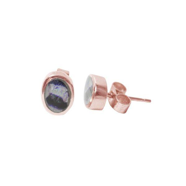 Rose Gold Blue John Oval Stud Earrings