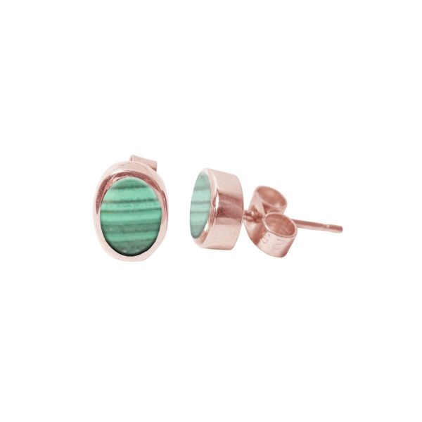 Rose Gold Malachite Oval Stud Earrings