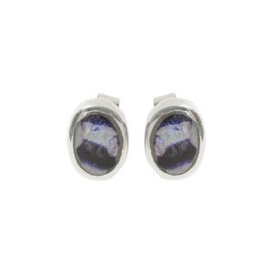 Silver Blue John Oval Stud Earrings