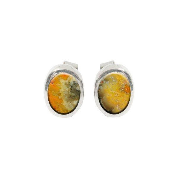 Silver Bumblebee Jasper Oval Stud Earrings