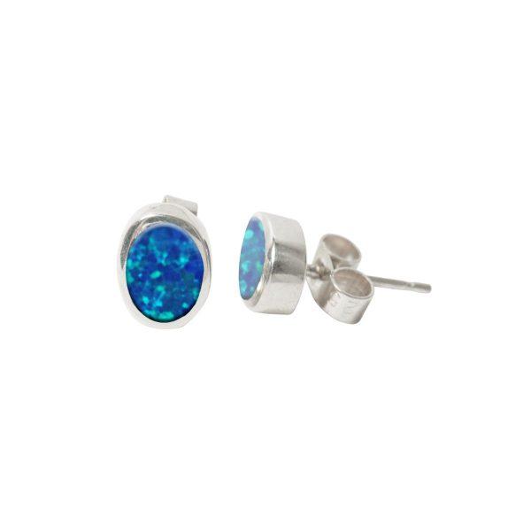 Silver Oplaite Cobalt Blue Oval Stud Earrings