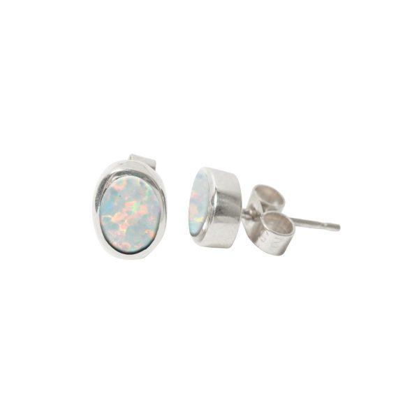 Silver Opalite Sun Ice Oval Stud Earrings