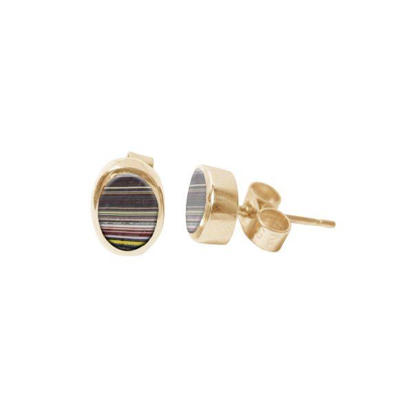 Gold Oval Stud Earrings