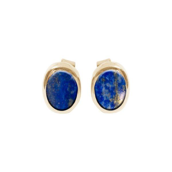 Gold Lapis Oval Stud Earrings
