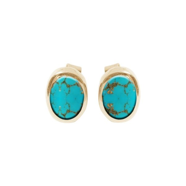 Gold Turquoise Oval Stud Earrings