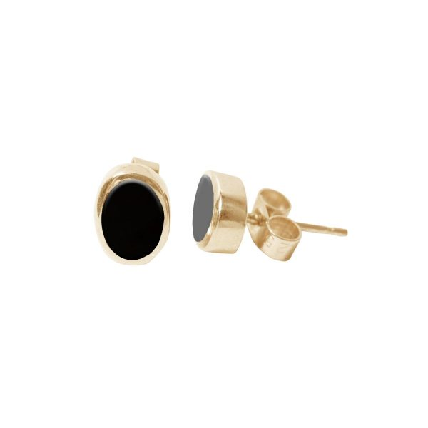 Gold Whitby Jet Oval Stud Earrings