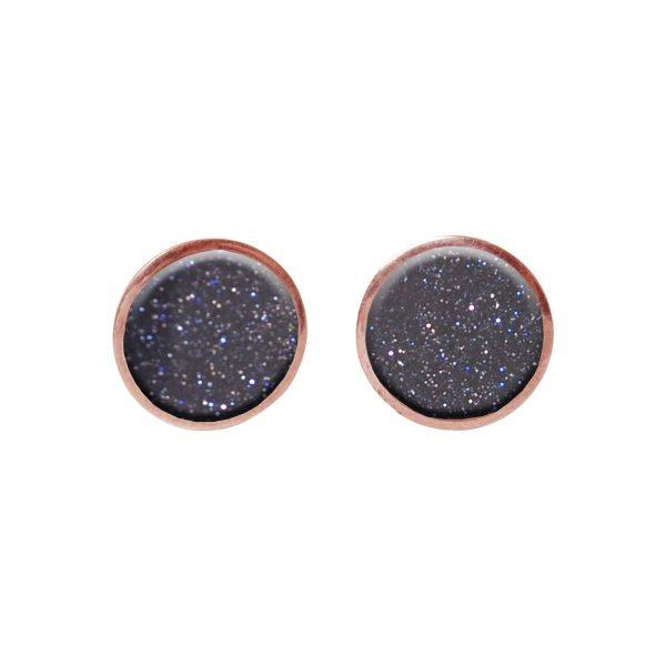 Blue Goldstone Round Rose Gold Stud Earrings