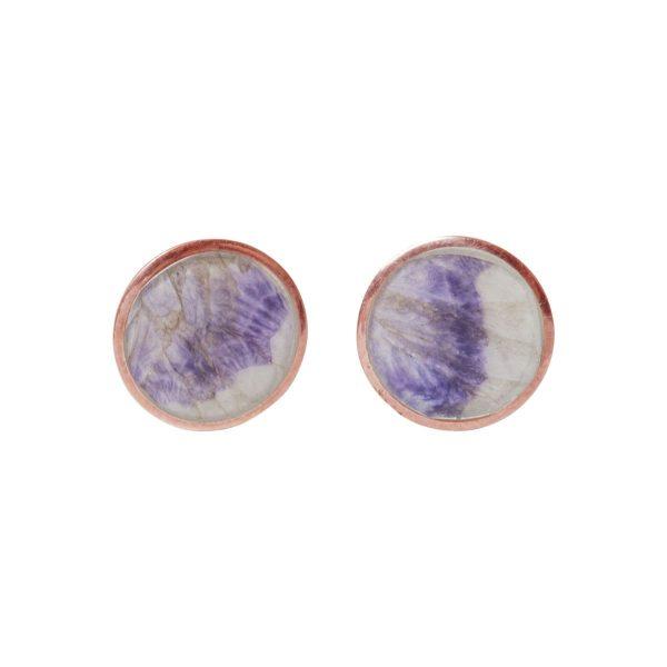 Blue John Round Rose Gold Stud Earrings