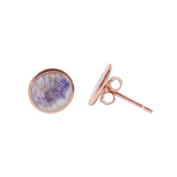 Blue John Rose Gold Round Stud Earrings