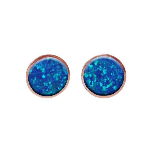 Cobalt Blue Opalite Round Rose Gold Stud Earrings