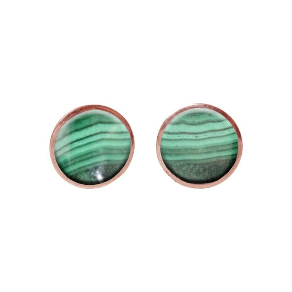 Round Malachite Rose Gold Stud Earrings