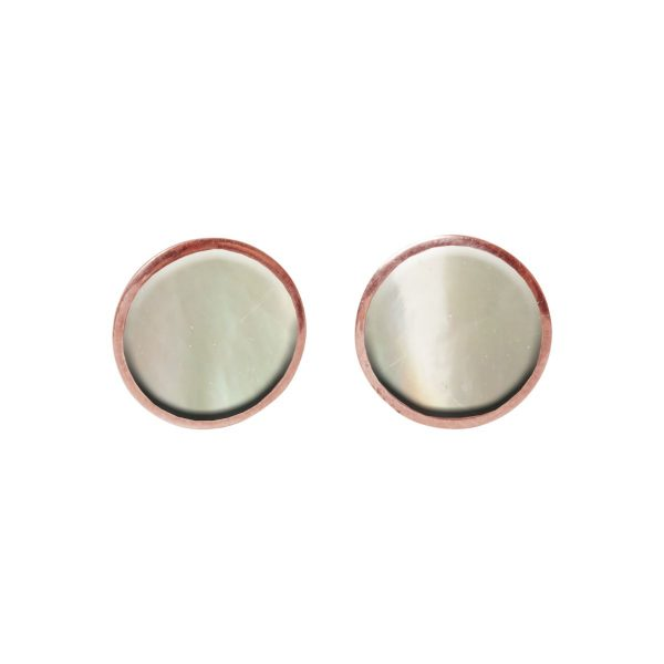 Mother of Pearl Round Rose Gold Stud Earrings