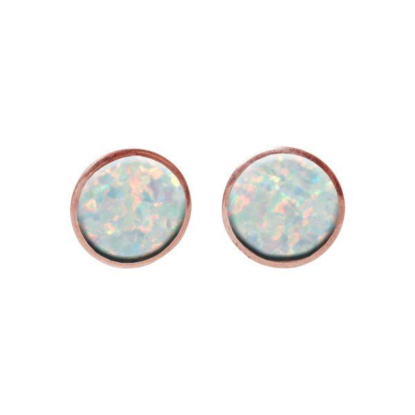 Round Rose Gold Opalite Sun Ice Stud Earrings