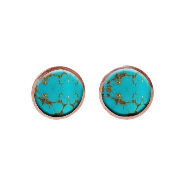 Round Rose Gold Turquoise Stud Earrings