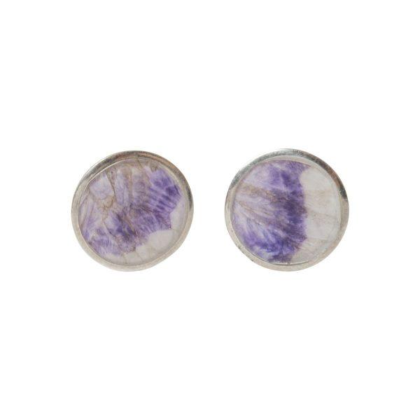 Silver Round Blue John Stud Earrings