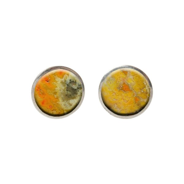 Silver Bumblebee Round Stud Earrings