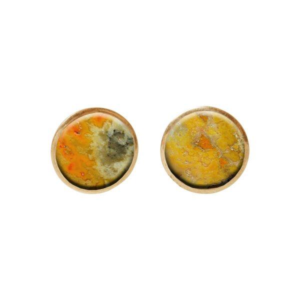 Gold Bumblebee Jasper Round Stud Earrings