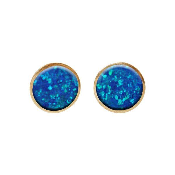 Gold Cobalt Blue Round Stud Earrings