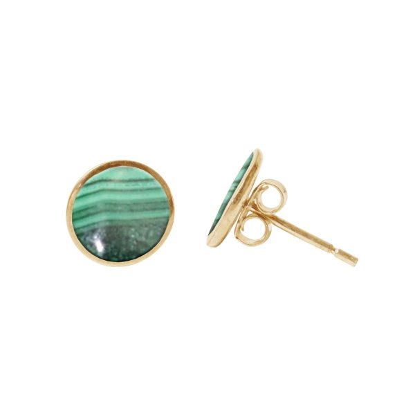 Gold Malachite Round Stud Earrings