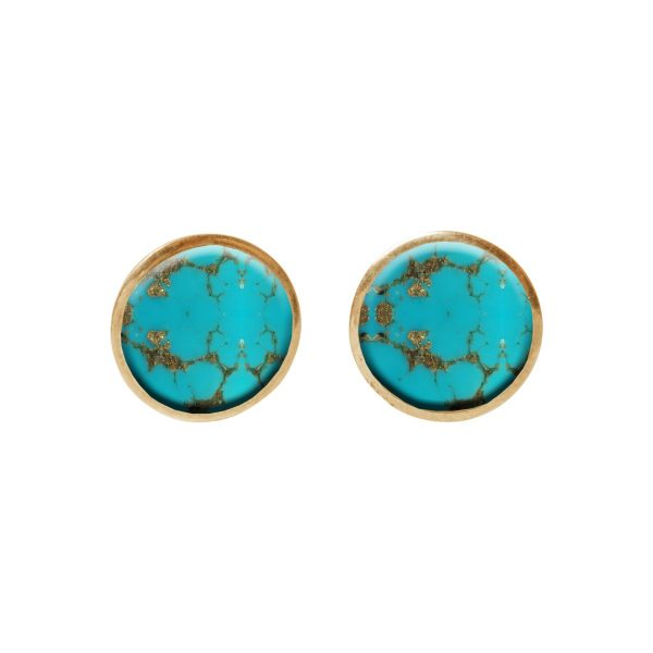 Gold Turquoise Round Stud Earrings
